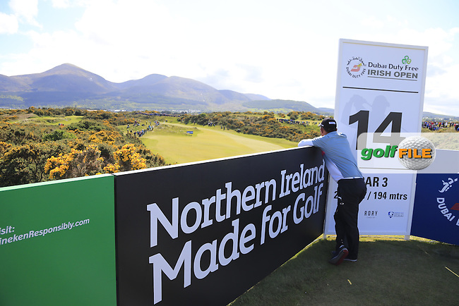 Thongchai JAIDEE (THA) checks out the scenery from the 14th tee during Thursday's Round of the 2015 Dubai Duty Free Irish Open, Royal County Down Golf Club, Newcastle Co Down, Northern Ireland 5/28/2015<br />  Picture Eoin Clarke, www.golffile.ie