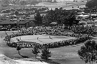 Crowd around the 18th hole at Round Hill Country Club dcuring the 1969 LPGA gold tournament. (photo/Ron Riesterer)