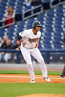 Nashville Sounds right fielder Matt Olson (21) leads off first during a game against the Iowa Cubs on May 3, 2016 at First Tennessee Park in Nashville, Tennessee.  Iowa defeated Nashville 2-1.  (Mike Janes/Four Seam Images)