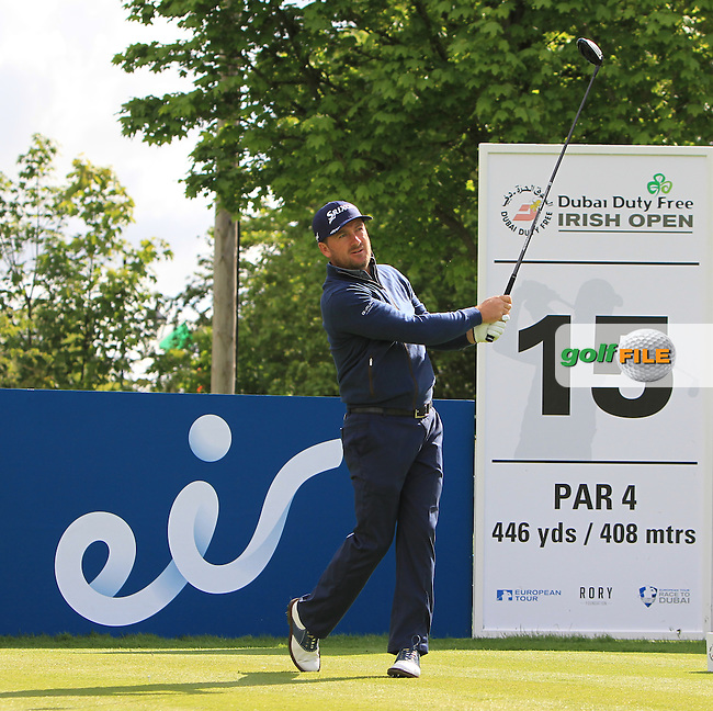 Graeme McDowell (NIR) on the 15th tee during Wednesday's Pro-Am round of the Dubai Duty Free Irish Open presented  by the Rory Foundation at The K Club, Straffan, Co. Kildare<br /> Picture: Golffile | Thos Caffrey<br /> <br /> All photo usage must carry mandatory copyright credit <br /> (&copy; Golffile | Thos Caffrey)