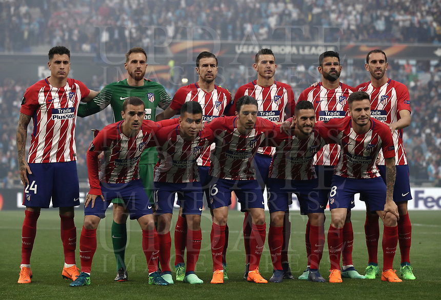 Club Atletico de Madrid's players pose before the start of the UEFA Europa League final football match between Olympique de Marseille and Club Atletico de Madrid at the Groupama Stadium in Decines-Charpieu, near Lyon, France, May 16, 2018.<br /> UPDATE IMAGES PRESS/Isabella Bonotto