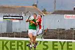 Greg Gibson Kilcummin and Michael O'Shea South Kerry collide during their County Championship quarter final in Fitzgerald Stadium on Saturday