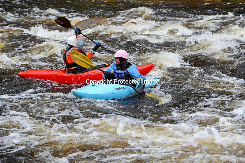 Whitewater Kayakers on the Ashuelot River in Gilsum, New Hampshire USA