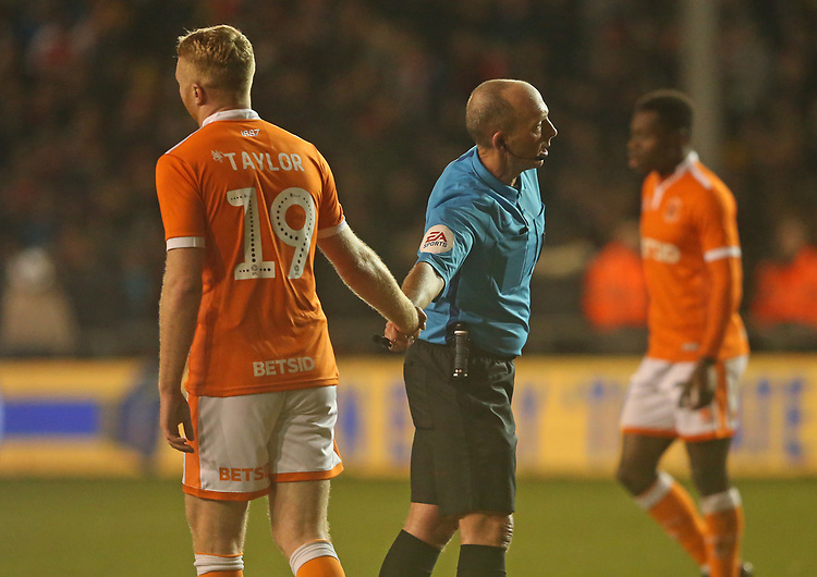 Referee Michael Dean interacts with Blackpool's Chris Taylor<br /> <br /> Photographer Stephen White/CameraSport<br /> <br /> Emirates FA Cup Third Round - Blackpool v Arsenal - Saturday 5th January 2019 - Bloomfield Road - Blackpool<br />  <br /> World Copyright &copy; 2019 CameraSport. All rights reserved. 43 Linden Ave. Countesthorpe. Leicester. England. LE8 5PG - Tel: +44 (0) 116 277 4147 - admin@camerasport.com - www.camerasport.com