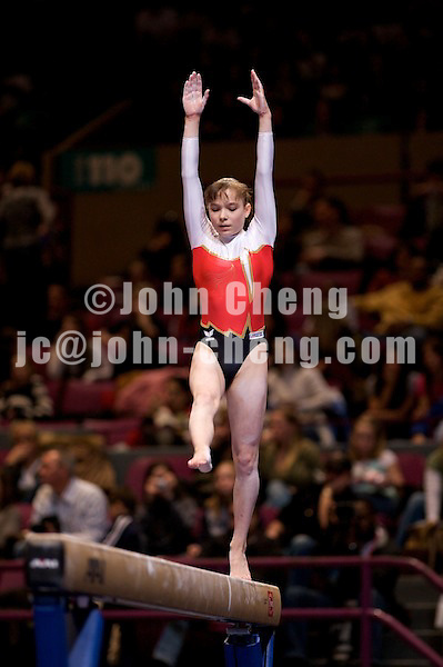 3/1/08 - Photo by John Cheng -  Joeline Mobius of Germany performs on the balance beam at the Tyson American Cup in Madison Square GardenPhoto by John Cheng - Tyson American Cup 2008 in Madison Square Garden, New York.Mobius