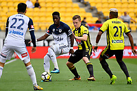 Wellington Phoenix&rsquo; Scott Galloway and Melbourne Victory&rsquo;s Leroy George in action during the A League - Wellington Phoenix v Melbourne Victory FC at Westpac Stadium, Wellington, New Zealand on Sunday 3 December.<br /> Photo by Masanori Udagawa. <br /> www.photowellington.photoshelter.com