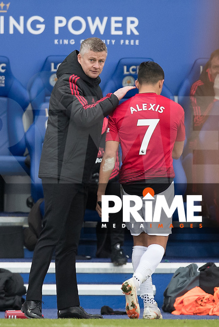 Ole Gunnar (Solskjaer) Solskjær Manager of Man Utd as Alexis Sanchez of Man Utd is substituted during the Premier League match between Leicester City and Manchester United at the King Power Stadium, Leicester, England on 3 February 2019. Photo by Andy Rowland.