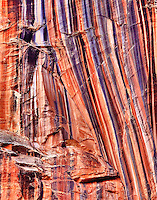Desert Varnish, a staining of the sandstone cliffs, taken from the North Kaibab Trail, just below the North Rim of the Grand Canyon