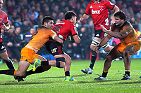 Jaguares captain Jeronimo De La Fuente tackles Crusaders' David Havili during the 2019 Super Rugby final between the Crusaders and Jaguares at Orangetheory Stadium in Christchurch, New Zealand on Saturday, 6 July 2019. Photo: Dave Lintott / lintottphoto.co.nz