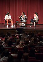 Students Chance Ward '18 and Inez Leon '21 host the Q & A.<br /> An Evening with Tarana Burke, founder of the #MeToo movement & social justice activist, Thorne Hall, Feb. 26, 2018.<br /> Tarana Burke shares the heartbreaking story behind the genesis of the viral 'me too' movement, and gives strength and healing to those who have experienced sexual trauma or harassment. The simple yet courageous #metoo hashtag campaign amplified by actress Alyssa Milano, has emerged as a rallying cry for people everywhere who have survived sexual assault and sexual harassment – and Tarana's powerful, poignant story as creator of what is now an international movement that supports survivors will move, uplift, and inspire you.<br /> Sponsored by: Residential Education & Housing Services, Project SAFE, Office of Community Engagement, Intercultural Community Center, Chief Diversity Officer & Remsen Bird.<br /> (Photo by Marc Campos, Occidental College Photographer)