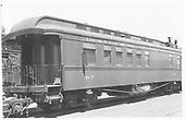Business car B-7 at Alamosa, CO.  Originally baggage car #17 and then business car R.<br /> D&amp;RGW  Alamosa, CO  Taken by Maxwell, John W. - 7/4/1948