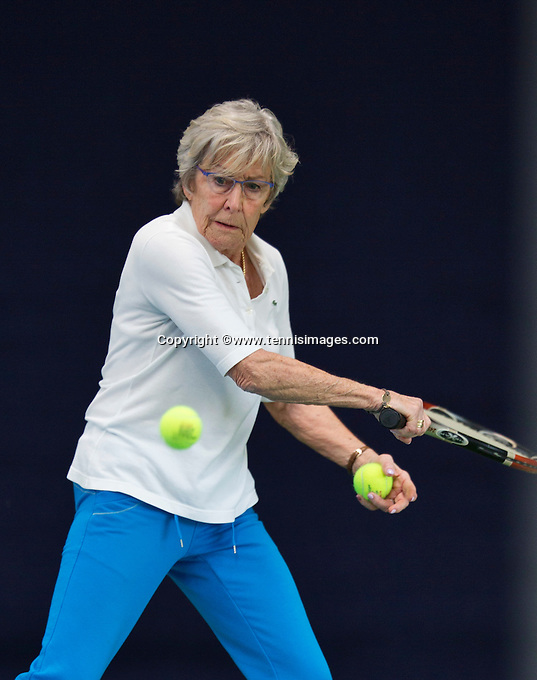 Hilversum, The Netherlands, March 09, 2016,  Tulip Tennis Center, NOVK, Mixed Doubles 70+ Netty Bak-Dinger<br /> Photo: Tennisimages/Henk Koster