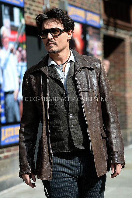 WWW.ACEPIXS.COM <br /> April 03, 2014 New York City:<br /> <br /> Johnny Depp arriving to tape an appearance on the Late Show with David Letterman on April 4, 2014 in New York City.<br /> <br /> Please byline: Kristin Callahan  <br /> <br /> ACEPIXS.COM<br /> Ace Pictures, Inc<br /> tel: (212) 243 8787 or (646) 769 0430<br /> e-mail: info@acepixs.com<br /> web: http://www.acepixs.com