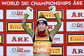 February 5th 2019, Are, Northern Sweden;  Mikaela Shiffrin of USA celebrates on the podium after winning for womens super-G during the FIS Alpine World Ski Championships on February 5, 2019