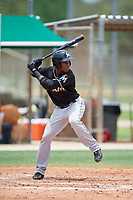 GCL Marlins shortstop Ronal Reynoso (3) at bat during the second game of a doubleheader against the GCL Nationals on July 23, 2017 at Roger Dean Stadium Complex in Jupiter, Florida.  GCL Nationals defeated the GCL Marlins 1-0.  (Mike Janes/Four Seam Images)