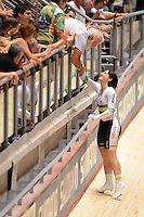 ANNA MEARES (AUS) celebrates with her father after winning the bronze medal in the Women's Sprint event on day 3 of the 2012 UCI Track Cycling World Championships at Hisense Arena in Melbourne, Australia. Photo Sydney Low. Copyright 2012 Sydney Low. All rights reserved. No reproduction permitted. Access via FlickrAPI not permitted...Please contact ZUMApress.com for editorial licensing:.Phone +1.949.481.3747  -  fax +1.949.481.3941  -  zuma-info@ZUMAPress.com .408 N. El Camino Real, San Clemente, California, 92672 USA