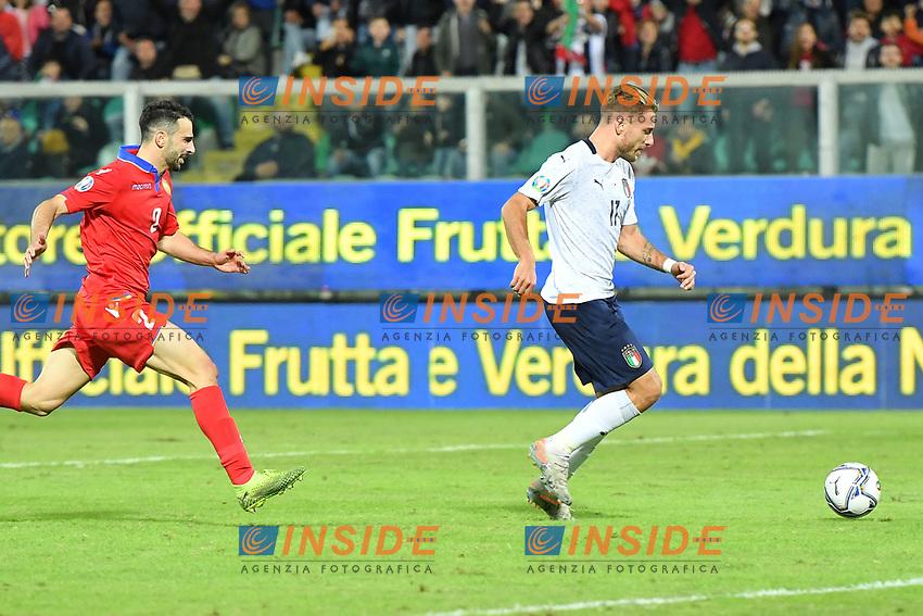 Italy's Ciro Immobile scores the 3-0 goal <br /> Palermo 18-11-2019 Stadio Renzo Barbera <br /> UEFA European Championship 2020 qualifier group J <br /> Italy - Armenia <br /> Photo Carmelo Imbesi / Insidefoto