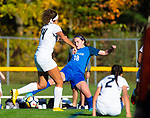 BURLINGTON ,  CT-101519JS10-  Lewis Mills' Alyse Pasqualini (18) regains controls the ball in front of Newington's Alexi Armour  (14) during their game Tuesday at Nassahegan Field in Burlington. <br /> Jim Shannon Republican-American
