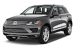 2015 Volkswagen Touareg Executive 5 Door Sport Utility Vehicle Angular Front stock photos of front three quarter view