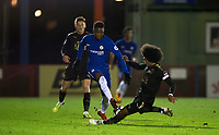 Hamza Choudhury of Leicester City U23 tackles Daishawn REDAN of Chelsea U23 but gets injured during the Under 23 Premier League 2 match between Chelsea U23 and Leicester City U23 at the Electrical Services Stadium, Aldershot, England on 2 February 2018. Photo by Andy Rowland / PRiME Media Images.