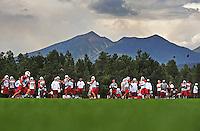 Jul 31, 2009; Flagstaff, AZ, USA; Arizona Cardinals players practice during training camp on the campus of Northern Arizona University. Mandatory Credit: Mark J. Rebilas-