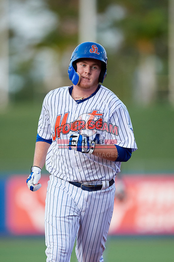 St. Lucie Mets first baseman Dash Winningham (34) rounds the bases after hitting a third inning home run during the first game of a doubleheader against the Charlotte Stone Crabs on April 24, 2018 at First Data Field in Port St. Lucie, Florida.  St. Lucie defeated Charlotte 5-3.  (Mike Janes/Four Seam Images)