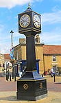 Historic clock tower in town centre, Stowmarket, Suffolk, England, UK