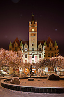 Landmark Center in St. Paul, Minnesota during winter snowfall.St. Paul's historic Landmark Center, completed in 1902, originally served as the United States Post Office, Court House, and Custom House for the state of Minnesota. Landmark Center stands in beautiful Rice Park, now housing an arts and culture center for St. Paul.