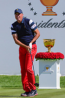 Matt Kuchar (USA) watches his tee shot on 1 during round 4 Singles of the 2017 President's Cup, Liberty National Golf Club, Jersey City, New Jersey, USA. 10/1/2017. <br /> Picture: Golffile | Ken Murray<br /> <br /> All photo usage must carry mandatory copyright credit (&copy; Golffile | Ken Murray)