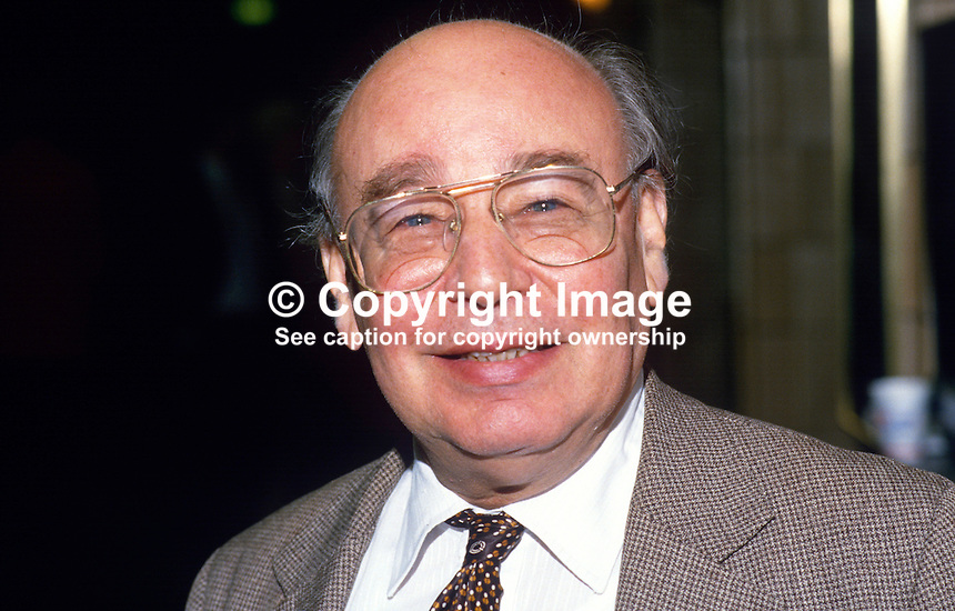 Sir Alfred Sherman, writer, journalist, political activist, former member Downing Street Thinktank, UK, 19871027AS<br /> <br /> Copyright Image from Victor Patterson, 54 Dorchester Park, Belfast, UK, BT9 6RJ<br /> <br /> t: +44 28 90661296<br /> m: +44 7802 353836<br /> vm: +44 20 88167153<br /> e1: victorpatterson@me.com<br /> e2: victorpatterson@gmail.com<br /> <br /> For my Terms and Conditions of Use go to www.victorpatterson.com