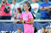 Cary, North Carolina  - Saturday September 09, 2017: Abby Erceg prior to a regular season National Women's Soccer League (NWSL) match between the North Carolina Courage and the Houston Dash at Sahlen's Stadium at WakeMed Soccer Park. The Courage won the game 1-0.