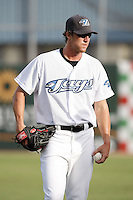 July 11, 2009:  Outfielder Adam Loewen of the Dunedin Blue Jays during a game at Dunedin Stadium in Dunedin, FL.  Loewen is a former MLB pitcher with the Baltimore Orioles attempting a comeback with the Blue Jays.  Dunedin is the Florida State League High-A affiliate of the Toronto Blue Jays.  Photo By Mike Janes/Four Seam Images