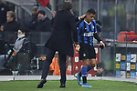 Antonio Conte Head coach of Inter gives a pat on the back to Alexis Sanchez of Inter as he is substituted for Sebastiano Esposito of Inter during the Coppa Italia match at Giuseppe Meazza, Milan. Picture date: 14th January 2020. Picture credit should read: Jonathan Moscrop/Sportimage