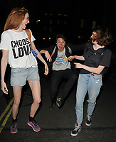 Lily Cole, Tom Rosenthal ( fooling about! ) and Charlotte Ritchie at the &quot;The Philanthropist&quot; theatre cast stage door departures, Trafalgar Studios, Whitehall, London, England, UK, on Wednesday 14 June 2017.<br /> CAP/CAN<br /> &copy;CAN/Capital Pictures /MediaPunch ***NORTH AND SOUTH AMERICAS ONLY***