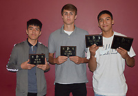 Boys' Basketball Awards - Irael Marcos (Practice Player of the Year), Cale Adamson (Hustle Award) and Saul Garcia (Mustang Pride Award and Four-Year Commitment). Not present: Cooper Reece (Offensive Player of the Year),xxxxxxxxxxSHOULD THERE BE A NAME HERE??? (Most Charges Drawn, Best Rebounder and Four-Year Commitment) and Boston Dowd (Most Improved, Defensive Player of the Year and Four-Year Commitment).