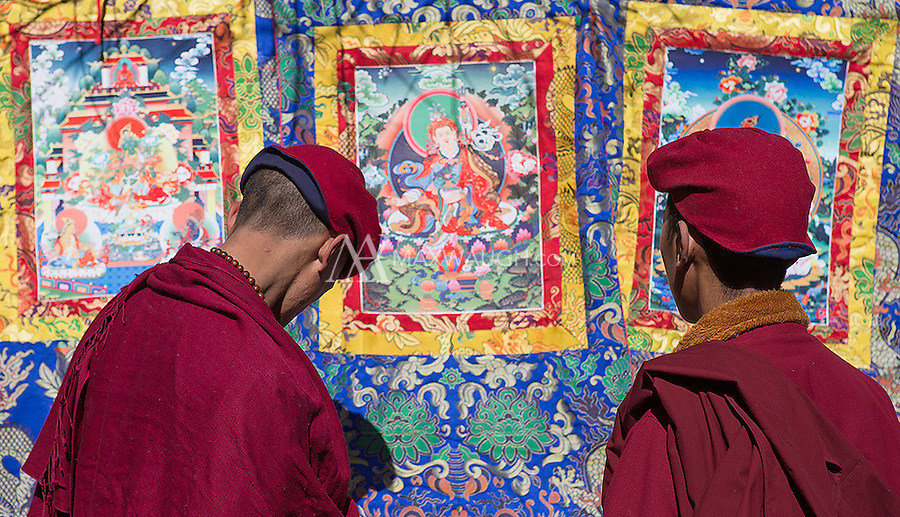 Monks pause in front of Buddhist artwork.
