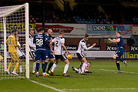 10th March 2020; Dens Park, Dundee, Scotland; Scottish Championship Football, Dundee FC versus Ayr United; A shot from Christophe Berra of Dundee is blocked in a crowded six yard box