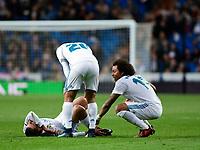 Real Madrid's Dani Ceballos injured and UD Las Palmas'  during La Liga match. November 5,2017. (ALTERPHOTOS/Inma Garcia)