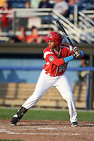 Batavia Muckdogs designated hitter Wildert Pujols (38) at bat during a game against the Jamestown Jammers on July 25, 2014 at Dwyer Stadium in Batavia, New York.  Batavia defeated Jamestown 7-2.  (Mike Janes/Four Seam Images)
