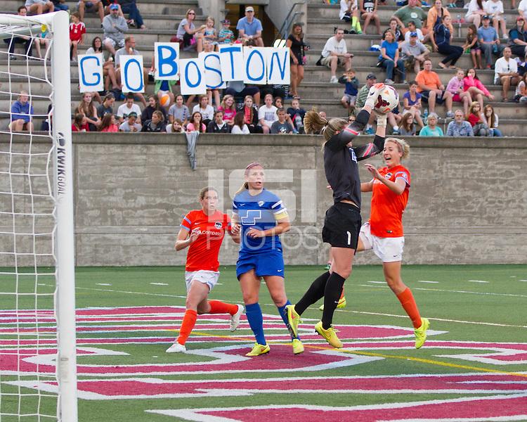 Allston, Massachusetts - August 17, 2014:  The Boston Breakers (blue) defeated the Houston Dash (orange), 1-0 in a National Women's Soccer League Elite (NWSL) match at Harvard Stadium.