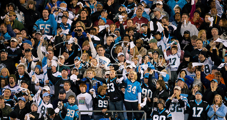 Carolina Panthers cheer for their team against the Arizona Cardinals during the NFC Divisional Playoff football game at Bank of America Stadium, in Charlotte, NC. Arizona defeated the Carolina Panthers 33-13.