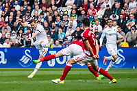 Sunday April 02 2017 <br /> Pictured: Gylfi Sigurdsson of Swansea City in action. <br /> Re: Premier League match between Swansea City and Middlesbrough at The Liberty Stadium, Swansea, Wales, UK. SUnday 02 April 2017