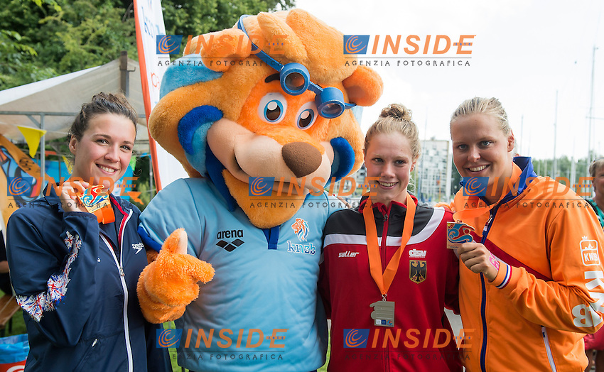 Podium - HUSKISSON Danielle GBR gold medal, WUNRAM Finnia GER silver medal, VAN ROUWENDAAL Sharon NED bronze medal<br /> Hoorn, Netherlands <br /> LEN 2016 European Open Water Swimming Championships <br /> Open Water Swimming<br /> Women's 5km<br /> Day 02 12-07-2016<br /> Photo Giorgio Perottino/Deepbluemedia/Insidefoto
