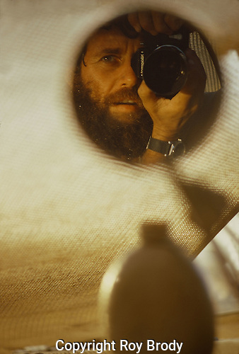 Self-portrait during the Yom Kippur War of 1973, taken in mirror of half-track.