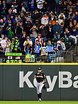 Ichiro Suzuki (Marlins),<br /> APRIL 19, 2017 - MLB :<br /> Fans including &quot;Ichi-Meter&quot; inventor Amy Franz cheers Ichiro Suzuki of the Miami Marlins as he takes to the field during the Major League Baseball game against the Seattle Mariners at Safeco Field in Seattle, Washington, United States. (Photo by AFLO)