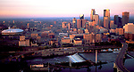 Aerial of Sunrise over Minneapolis, MN Skyline