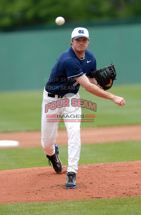 North Carolina Tar Heels' RHP Alex White in action at Shea Field May 14, 2009 in Chestnut Hill, MA (Photo by Ken Babbitt/Four Seam Images)