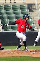 Omar Narvaez (10) of the Kannapolis Intimidators follows through on his swing against the Hickory Crawdads at CMC-Northeast Stadium on April 9, 2014 in Kannapolis, North Carolina.  The Intimidators defeated the Crawdads 1-0.  (Brian Westerholt/Four Seam Images)