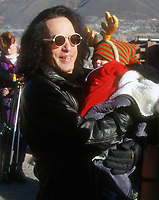 Paul Stanley with baby, 1994, Photo By John Barrett/PHOTOlink