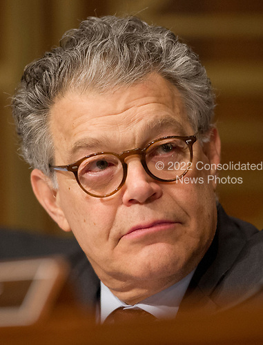 United States Senator Al Franken (Democrat of Minnesota) listens as Alex M. Azar II testifies before the US Senate Committee on Health, Education, Labor and Pensions on his nomination to be Secretary of Health and Human Services on Capitol Hill in Washington, DC on Wednesday, November 29, 2017.<br /> Credit: Ron Sachs / CNP